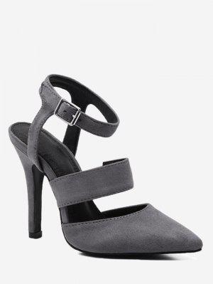 Sandálias De Calcanhar Com Salto Stiletto - Cinza 34