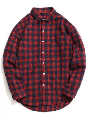 Knopf-oben Tartan-Hemd