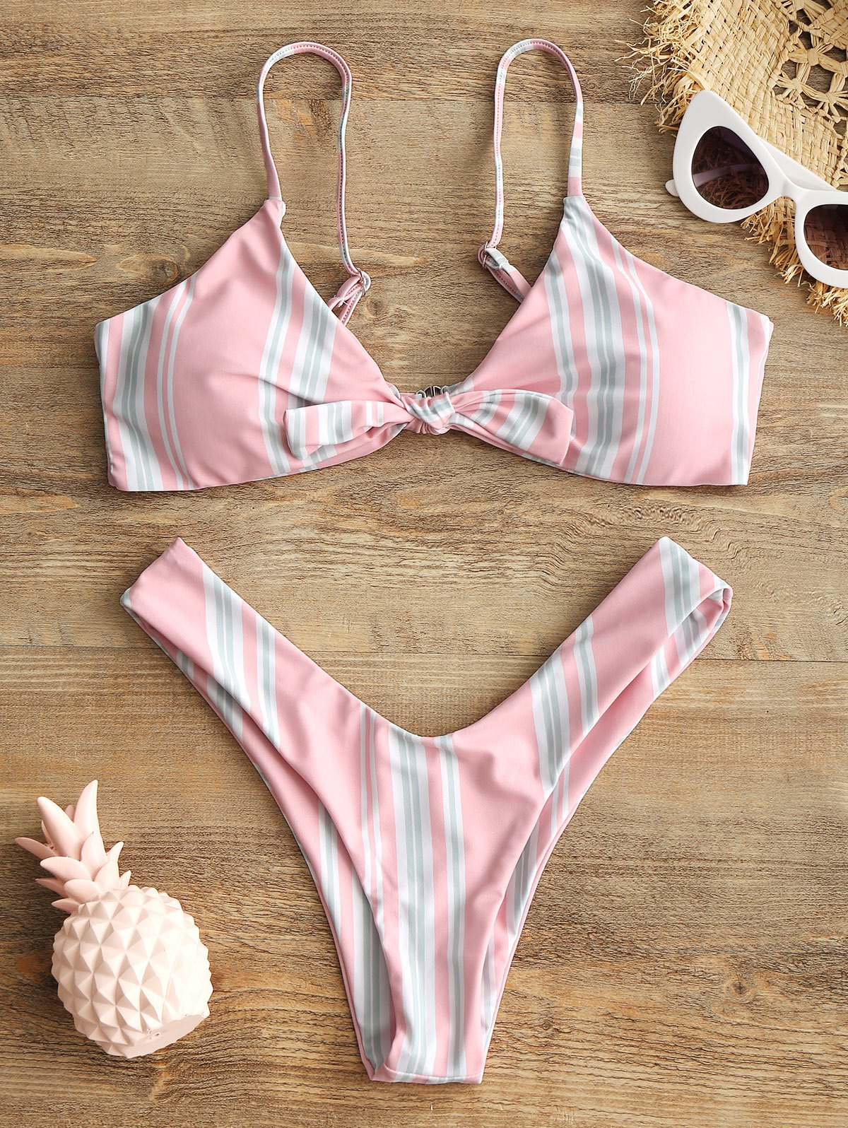 Striped Knotted Bra an