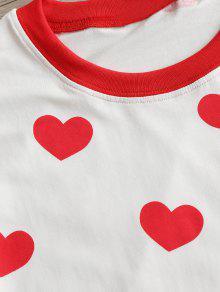 Camiseta Estampado De Lechuga Con S Blanco Dobladillo Corazones De fFfwn5vrx