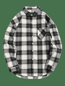 Gris Camisa Cuadros Negro Con 2xl Botones Y A trq8HrxAIw