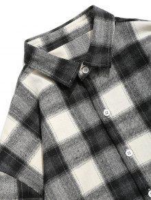 A 2xl Con Gris Y Cuadros Botones Negro Camisa xT0qARx