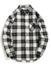 قميص من قماش المربعات بأزرار - رمادي وأسود M