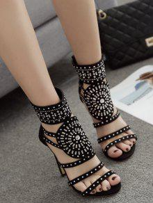 Rhinestone Accent High Heel Sandals