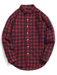 قميص تارتان بأزرار - أحمر M