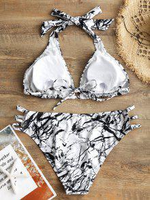 Blanco Halter Bikini Con 3xl Corte China Talla Y Pintura Grande FqBqI8wxR