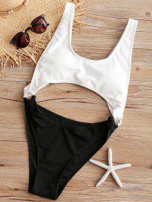 مضلع انقطاع واحد قطعة ثوب السباحة - أبيض L