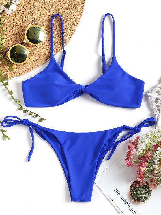 shops Cami Twist Front String Bikini Set - ROYAL M