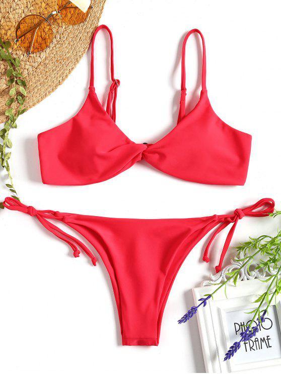 affordable Cami Twist Front String Bikini Set - RED M