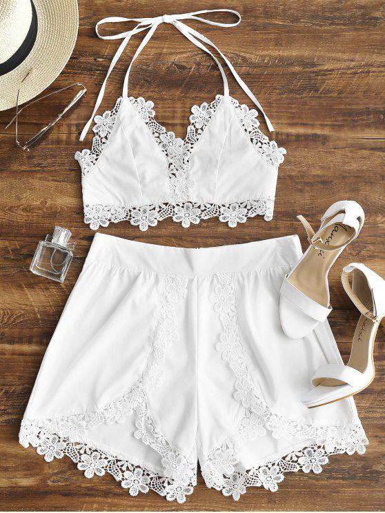Backless Lacework Halter Top e Shorts Set - Branco L