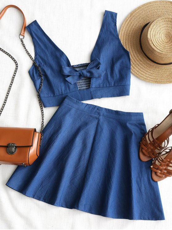 Top Bowknot Smocked con gonna da spiaggia - Blu L