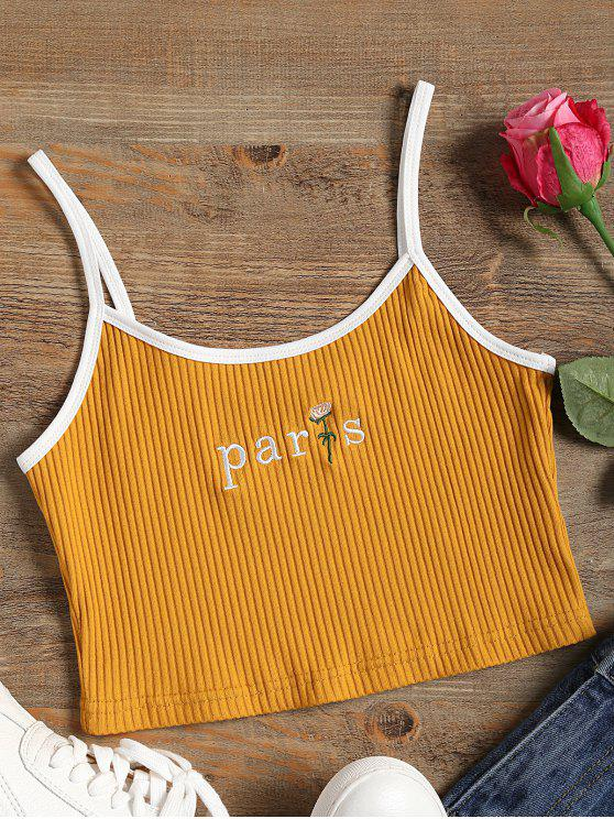 women Embroidered Ribbed Crop Cami Top - GINGER ONE SIZE