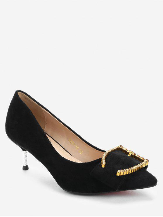 Stiletto Heel Rhinestone Pumps - Negro 35