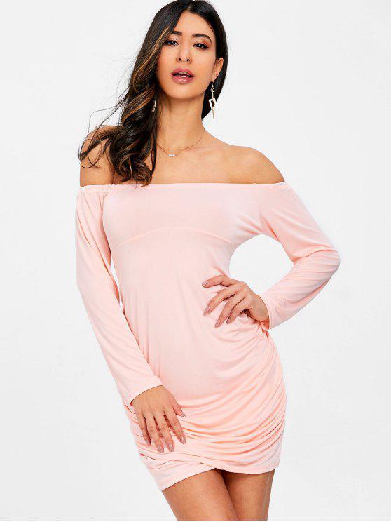 Schulterfreies Bodycon Kleid mit Rüschen - Rosa M