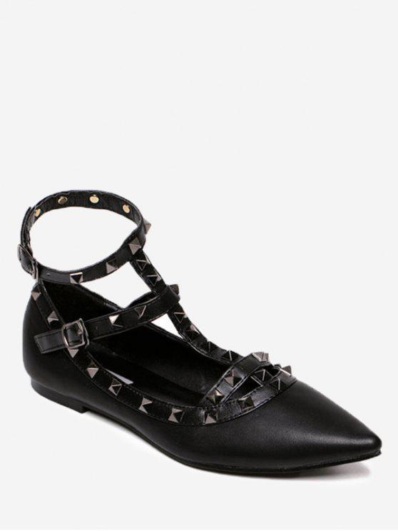 Appartamenti punta a punta con cinturino alla caviglia - Pieno Nero 38