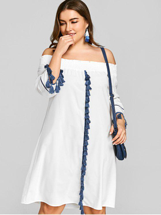 Plus Size Off Shoulder Smocked Tassels Dress WHITE