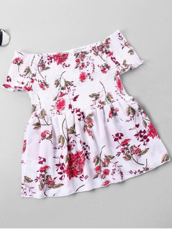affordable Floral Print Shirred Bust Off Shoulder Blouse - WHITE L