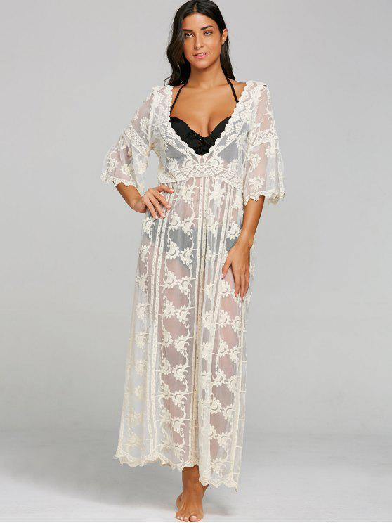 Low-Cut Sheer Beach Cover-up Dress - Bege Um Tamanho