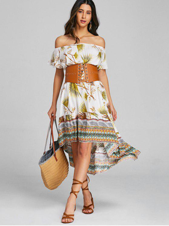 فستان متوسط قبليي كتف مفتوح - الأصفر XL