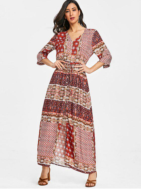 fashion Tribal Floral Button Up Maxi Dress - RED M