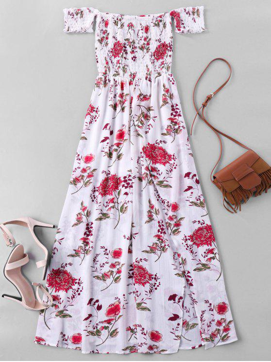7b0e455466b 30% OFF] 2019 Off Shoulder High Split Floral Maxi Dress In WHITE | ZAFUL