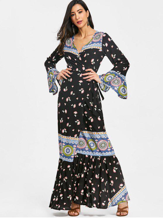 Vestido maxi abrigo floral con volantes - Floral XL