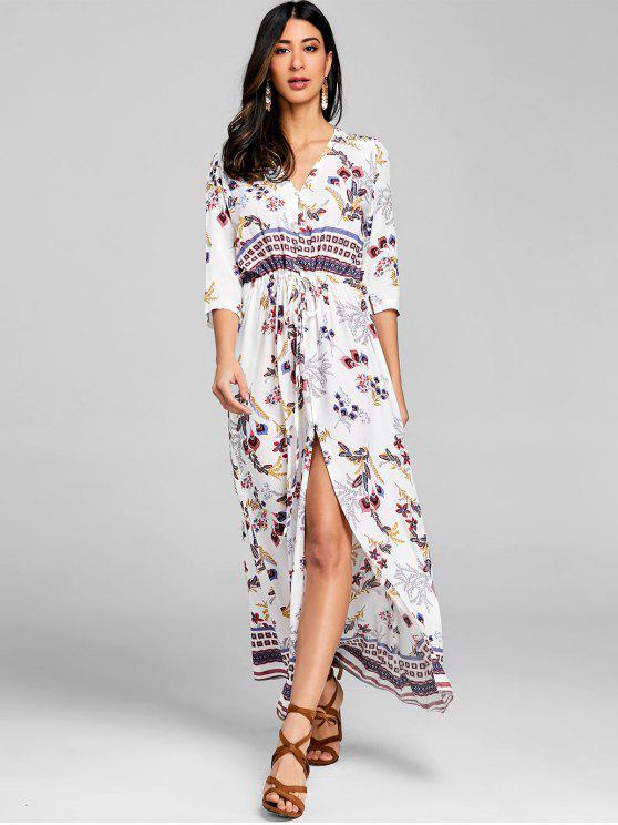 sale Floral Drawstring Button Up Maxi Dress - WHITE M