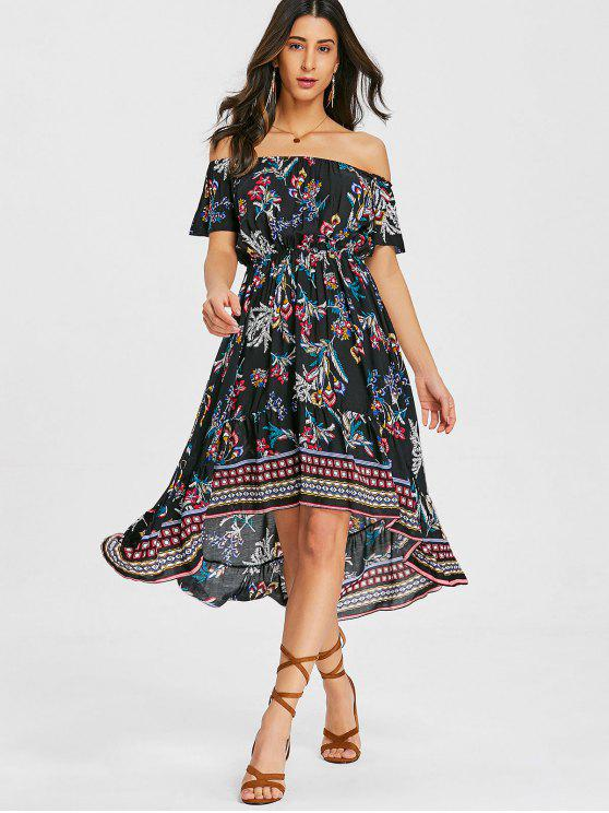 28898cce84 25% OFF  2019 Floral Asymmetrical Off Shoulder Midi Dress In BLACK ...