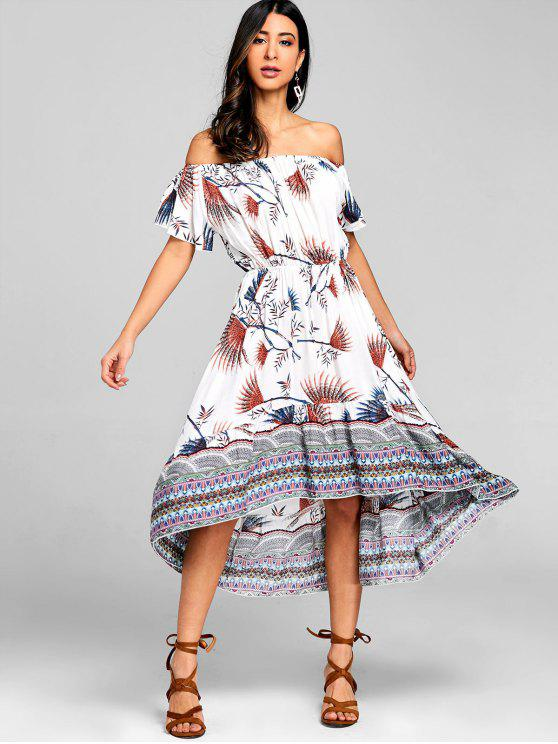 Tribal Asymmetrical Off Shoulder Midi Dress