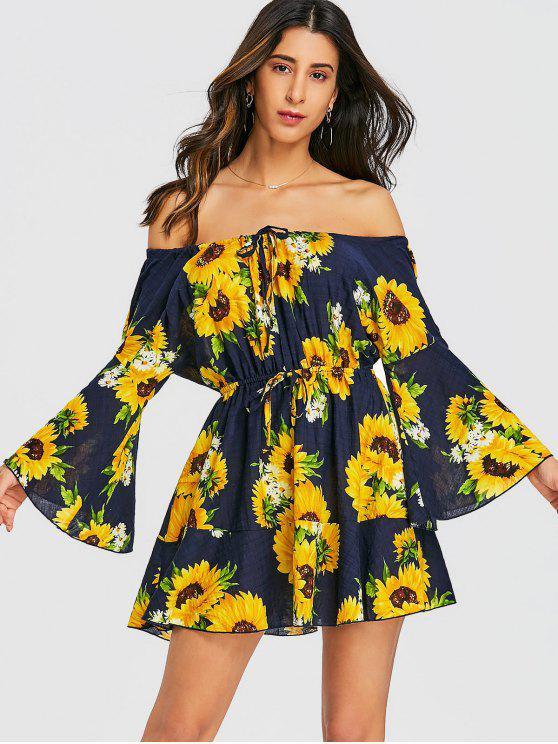 online Sunflower Off Shoulder Mini Dress - FLORAL 2XL