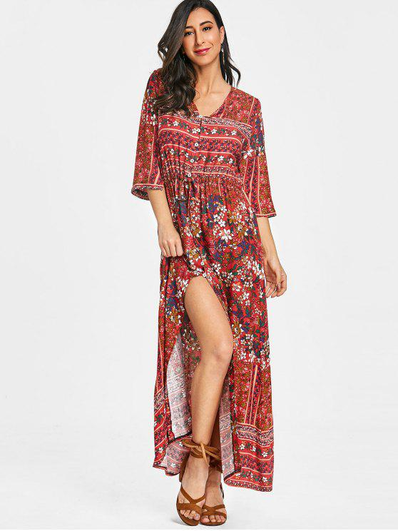 women Floral Button Up Slit Maxi Dress - RED M