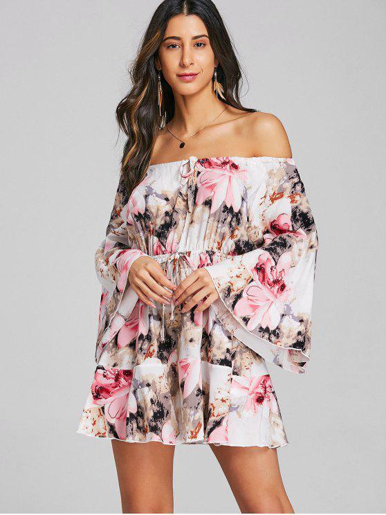 À Dénudées Robe Florale Mini Découpée Épaules wnOvN80m