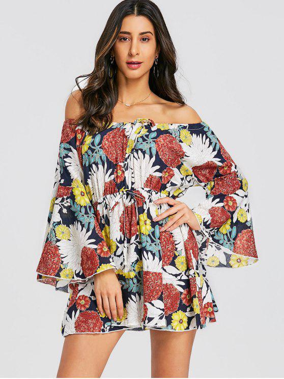 hot Floral Bell Sleeve Off Shoulder Mini Dress - FLORAL M