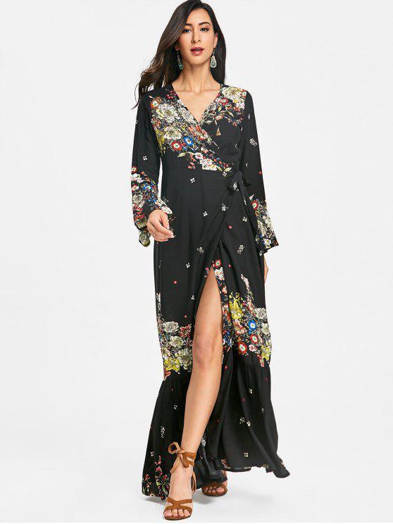 فستان طويل كم طويل - أسود 2XL