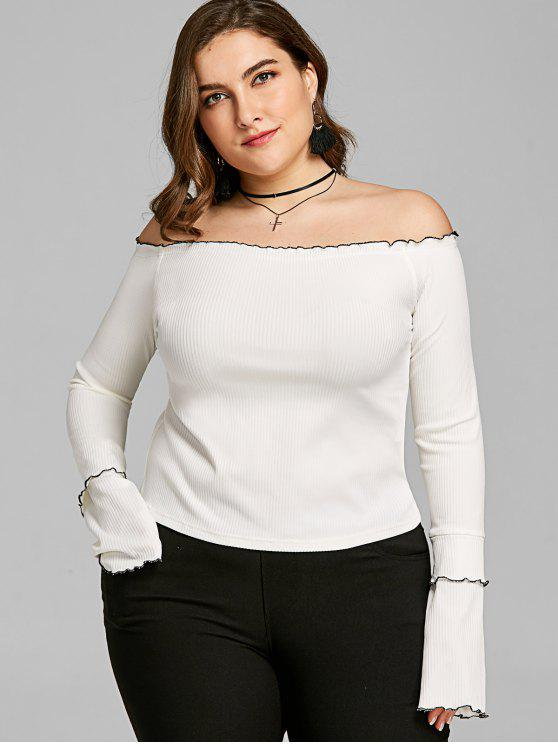 ladies Plus Size Lettuce Edge Off Shoulder Top - WHITE 2XL