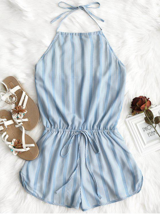 Halter Open Back Striped Romper - Raya L