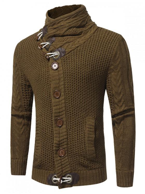 affordable Cowl Neck Horn Button Single Breasted Cardigan - BROWN L