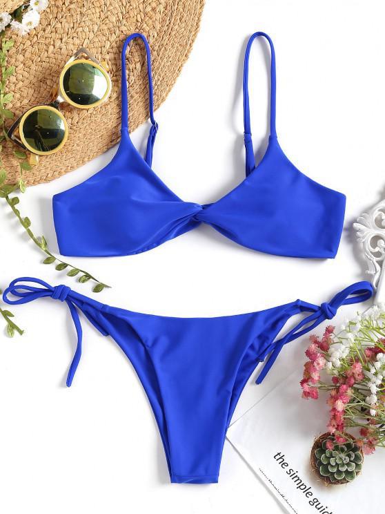 Bikini Con Torsione Anteriore Con Stringhe - Reale L