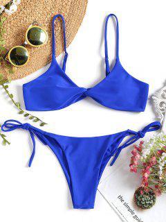 Conjunto De Bikini De Cadena Delantera Cami Twist - Azul Zafiro L