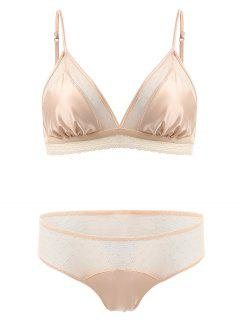 Mesh Panel Satin Bra Set - Complexion M