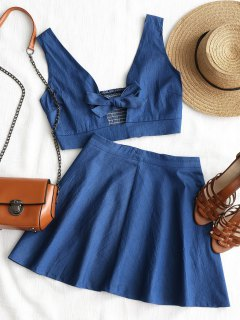 Smocked Bowknot Top With Beach Skirt - Blue L