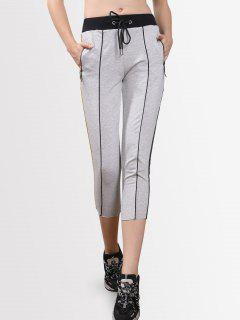 Drawstring Striped Cropped Pants - Light Gray S