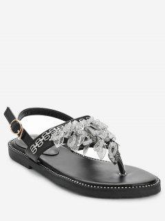 Rhinestone Flat Heel Sandals - Black 37