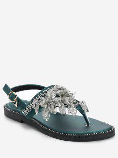 Rhinestone Flat Heel Sandals - Green 36
