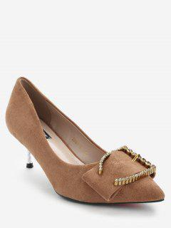 Stiletto Heel Rhinestone Pumps - Brown 36