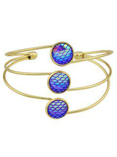 Multilayered Mermaid Scales Cuff Bracelet - Purple