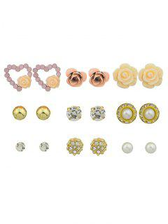Faux Pearl Rhinestone Flower Heart Stud Earrings - Golden