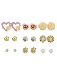 Pendientes De Perlas De Corazón De Flor De Diamantes De Imitación De Perlas De Imitación - Dorado