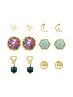 Star Moon Hexagon Ball Earring Set - Golden