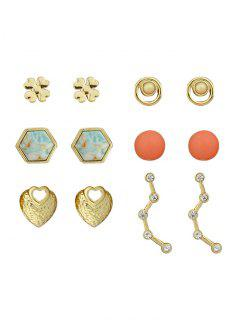 Juego De Pendientes De Bolas Hexagonales Florales De Diamantes De Imitación - Dorado